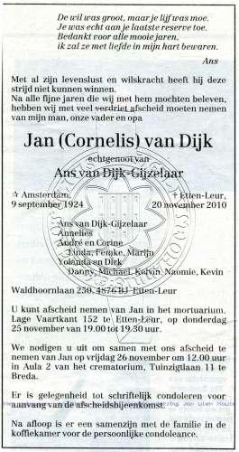 62b40c469e2 Dijk van (bidprent 02041 uit de collectie Heemkundig Streekmuseum ...